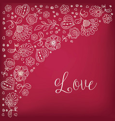 Freehand drawing flowers doodle heart background vector