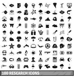 100 research icons set simple style vector image