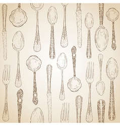 Hand drawn silverware icons seamless pattern vector image
