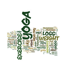 Yoga and weight loss text background word cloud vector