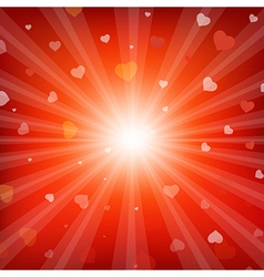Red backgrounds with beams and hearts vector