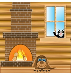 Room with heater vector