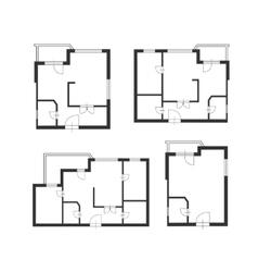 furniture architect plan of building set vector image