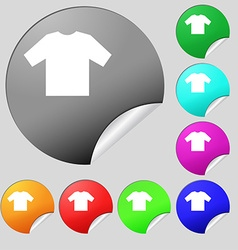T-shirt icon sign set of eight multi colored round vector