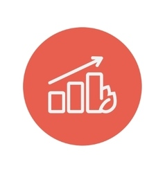 Growing graph thin line icon vector