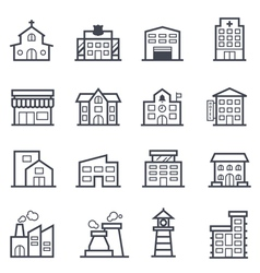 Building icon bold stroke vector