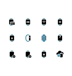User credit card information in smart watch icons vector
