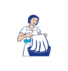 Housewife washing laundry retro vector
