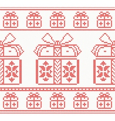 Knitted pattern with gift boxes vector
