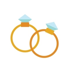 Wedding golden rings isolated on background vector
