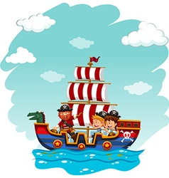 Children riding on viking boat vector