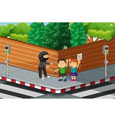 Children being robbed at the street corner vector