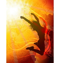 Jumping girl background vector