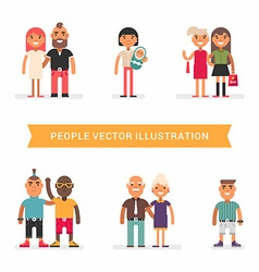 People of different age and status couples friends vector