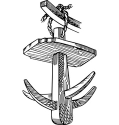 Vintage wooden hook vector image
