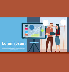 Business man and woman with flip chart seminar vector
