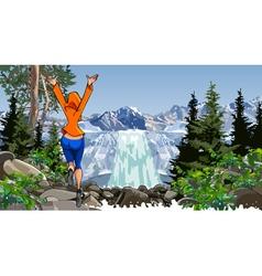 cartoon woman jumping near a waterfall vector image vector image