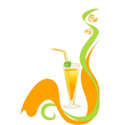 cocktail green and orange background vector image