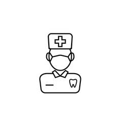 dentist line icon vector image vector image