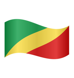 flag of the congo republic waving white background vector image