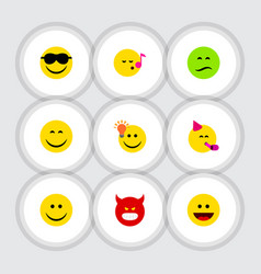 flat icon gesture set of party time emoticon vector image vector image