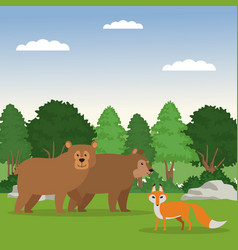 forest animals cartoon vector image vector image