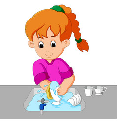 Girl washing the dishes vector