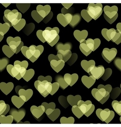 Golden heart shapes isolated on black background vector image vector image