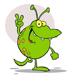 Green Alien Smiling And Gesturing The Peace Sign vector image vector image