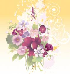 grunge floral composition vector image vector image