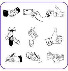 Hand gestures - business set vector image vector image