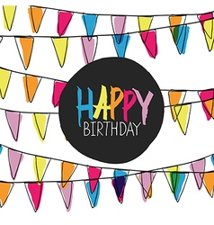 happy birthday pennant bunting vector image