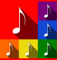 music note sign set of icons with flat vector image vector image