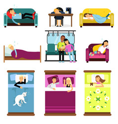 People sleeping at home at work in transport set vector
