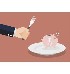 Piggy bank run away from big hungry man vector