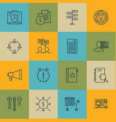 Set of 16 project management icons includes money vector