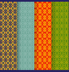 Set of batik seamless pattern in tribal asia style vector