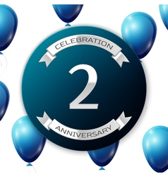 Silver number two years anniversary celebration on vector image