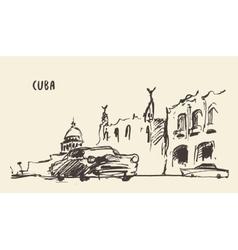 Sketch of a streets in Cuba vector image vector image