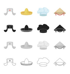 Sombrero the cap of a cook a chinese cone a vector