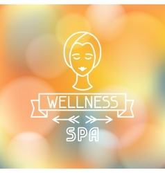 Spa wellness label on blurred background vector image vector image