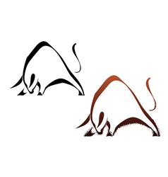 Two silhouette wild bull vector
