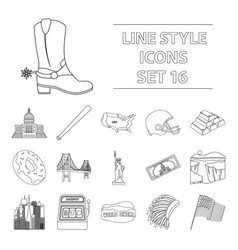 Usa country set icons in outline style big vector