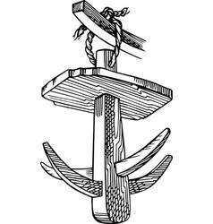 Vintage wooden hook vector image vector image