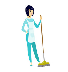 young housemaid sweeping floor with a broom vector image vector image