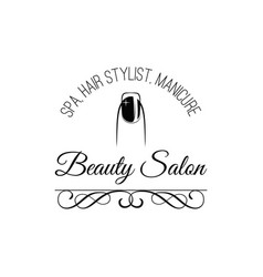 beauty salon badge nail design makeup filigree vector image
