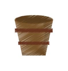 drawing wooden bucket empty vector image