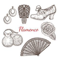 Set of flamenco accessories vector