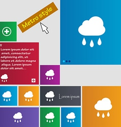 Weather rain icon sign metro style buttons modern vector