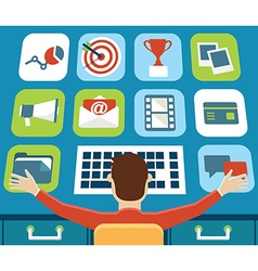 Management of mobile application Touch screen vector image